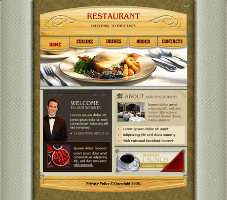 free flash template - restaurant website