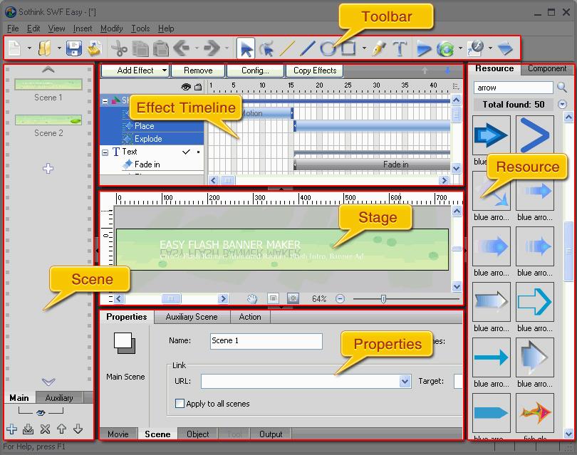 Flash Animation Maker, SWF Decompiler, DHTML Menu, Flash animation ...